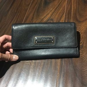 MBMJ Black Pebbled Leather Long Bifold Wallet